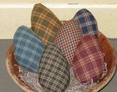 Primitive Homespun Easter Eggs Bowl Fillers  - Set of 6  - Plaid Fabric - Spring Decor - Easter Decor