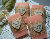 rustic wedding favors, bridal shower, Pink LAVENDER, 25 mini soaps, country chic, from my shower to yours, personalized, can customize.