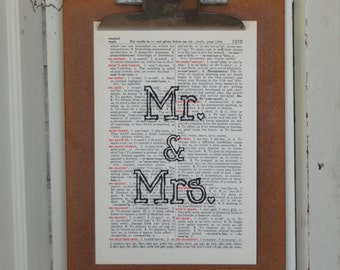 Mr and Mrs on Vintage Book Page