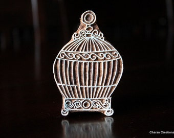 Hand Carved Indian Wood Block Stamp- Bird Cage