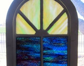 Reclaimed and Restored Original Stained Glass Arched Church Window #1