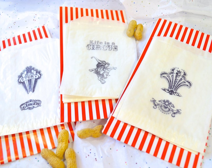 Stamped Glassine Bag, Circus Theme, Favor Bags, Wedding Candy Bar, Kid's Party, Favor Bags, set of 12