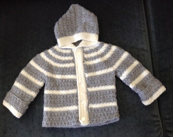 Crocheted hooded baby sweater