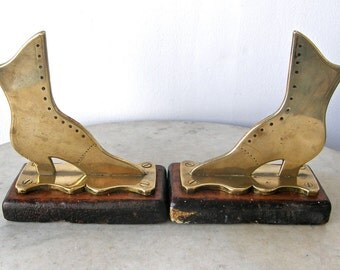BRASS BOOTS BOOKENDS on Mahogany Platform Ladies Button Up Boots Shoes Victorian Fashion Antique Shoes English or American 1800's