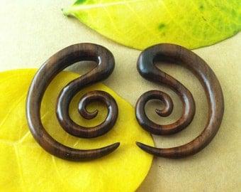 1 PAIR SONO WOOD brown hook spiral earring 2 Gauge 6 mm Size