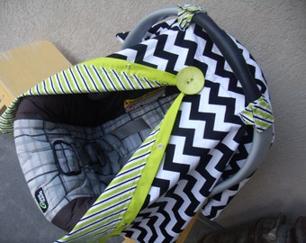 Carseat Canopy Chevron LIme Stripes Reversible