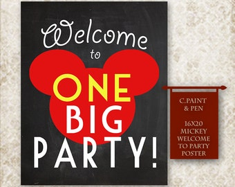 Mickey Mouse Party Sign -Minnie Mouse Party Sign -Instant Download Party Sign -Mickey Mouse Birthday Poster -Mickeys Big Party Poster