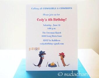 Dachshund Cowboys. Cowgirls.Western. Country Birthday Invitation (set of 10)