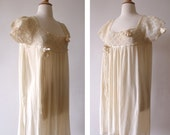 """1920s Ivory Slip Dress with Crochet and Ribbons / Vintage 1920s Cotton Summer Dress / Plus Size / Waist 56"""""""