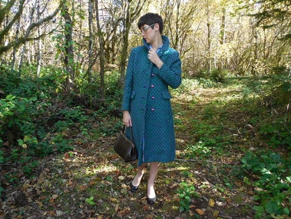 "VTG  ""Custom Casuals"" Woven Dress Coat: Pattern in Turquoise, Green, Purple"