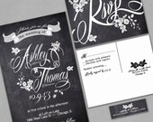 Chalkboard Wedding Invitation, Custom Typography and Roses, Black and White, Sample, Black Friday Sale, Discount Wedding Invitations