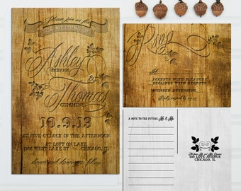 Wood Etched Wedding Invitations, Budget Invitation, Invitation Set, with RSVP cards and address labels