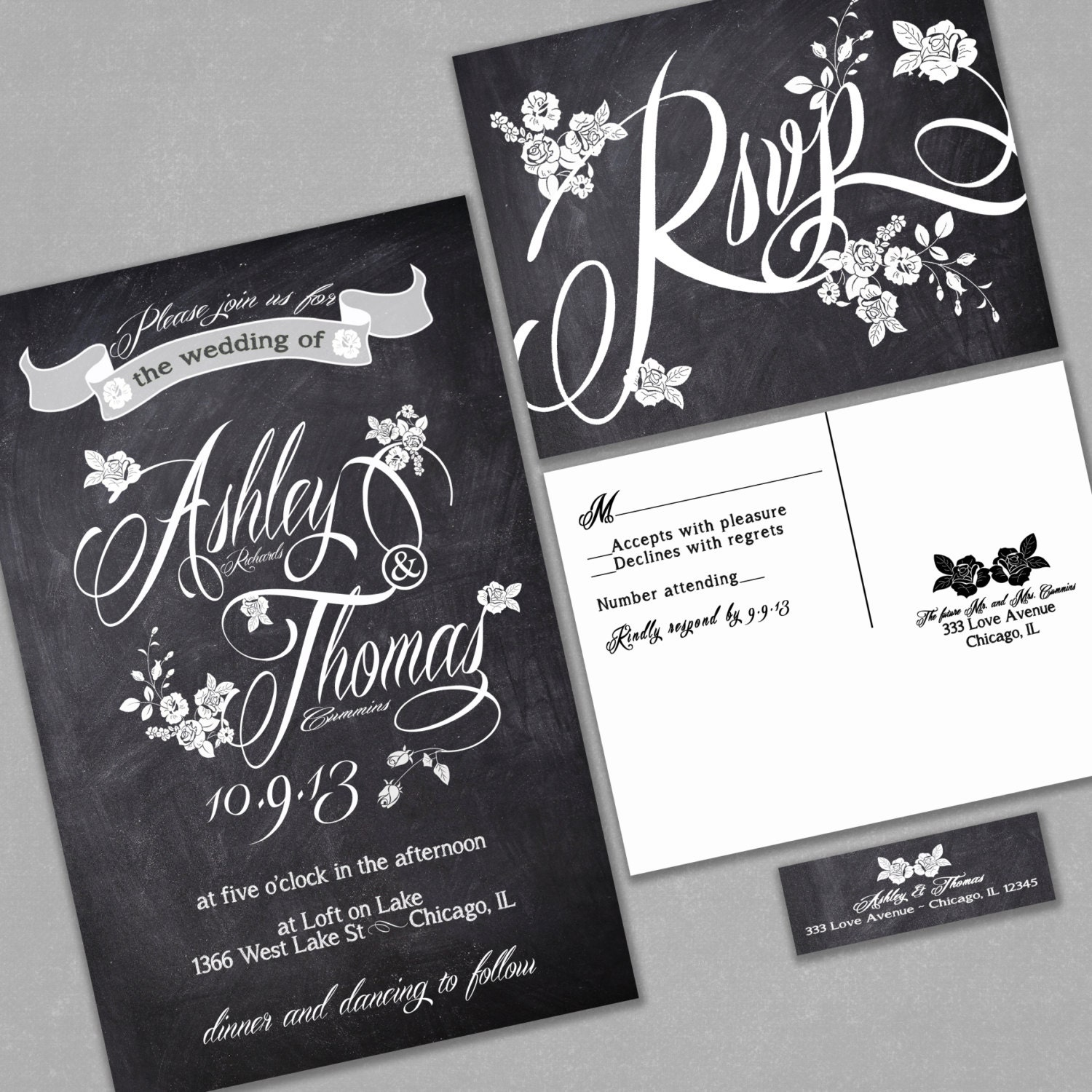 chalkboard wedding invitation custom typography and roses