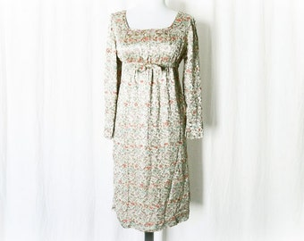Vintage 60s Embroidered Floral Satin Silk Empire Dress Bow Gold S