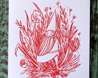 SALE- Gnome Field Wildflower Screen Print