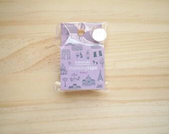 Round Top Masking tape, France, Violet, Silver, Die cut