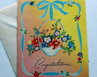 1940s vintage Congratulations card, unused, with envelope