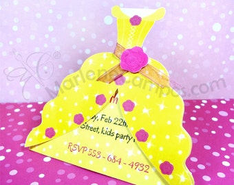Princess Belle Invitation Inspired - beauty and the beast, Belle dress - Printable - Personalized Invitation - Paper Art by Marlene Campos