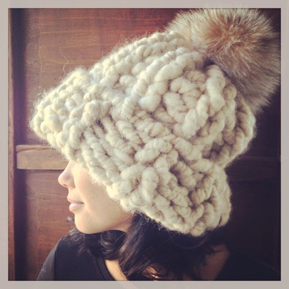 Items similar to Super chunky alpaca knit beanie with large fox pom pom on Etsy