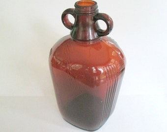 Art Deco Amber Brown Glass Jug Owens Illinois 1930s 1940s 1950s Lamp Base Home Decor Collectible