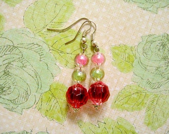Pink Green Red Bead Earrings, Bead Earrings, Summer Earrings