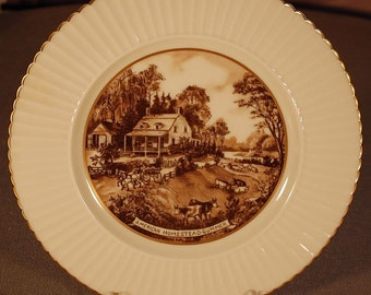 "Vintage ""LENOX"" Currier and Ives ""American Homestead - Summer"" 10 3/4"" dinner plate in brown ca 1950S"