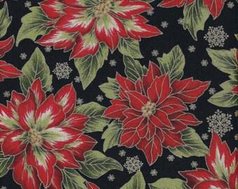 "Fabric Remnant, Holiday Flourish 5, Robert Kaufman ,Poinsettia, 18"""