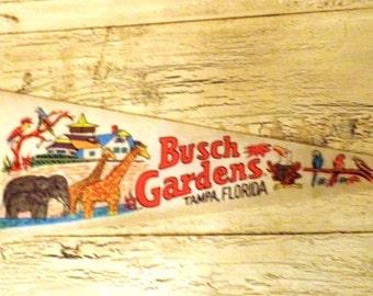 Vintage Felt Souvenir Pennant - Busch Gardens - Tampa, Florida