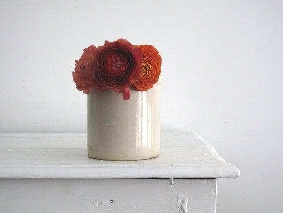 Vintage White Ceramic Crock - Stoneware Pottery - Kitchen Organizer - Planter