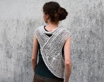 Katniss inspired huntress cowl vest  in grey, ecru multicolor for spring summer