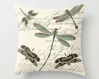 Throw Pillow Cover - Dragonflies on Vintage Ephemera - 16x16, 18x18, 20x20 - Pillow case Original Design Home Décor by Adidit