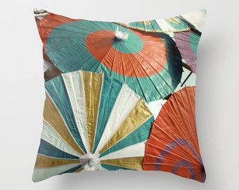 Pillow Cover, Colorful Parasols Pillow, Red Gold Teal Pillow, Umbrella Pillow, Parasol Photo Pillow, Living Room Decor, 16x16 18x18 20x20