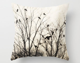 Pillow cover, Birds in branches pillow, Crow Photo Pillow, Cream Brown Gray Pillow, Black Birds Pillow, Living room decor, 16x16 18x18 20x20