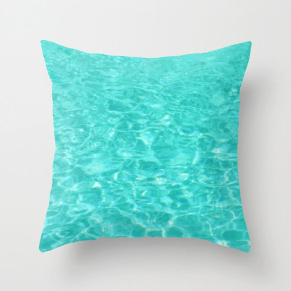 Pool Blue Throw Pillows : Pillow Cover Teal Blue Pillow Water Ripples Pillow Swimming