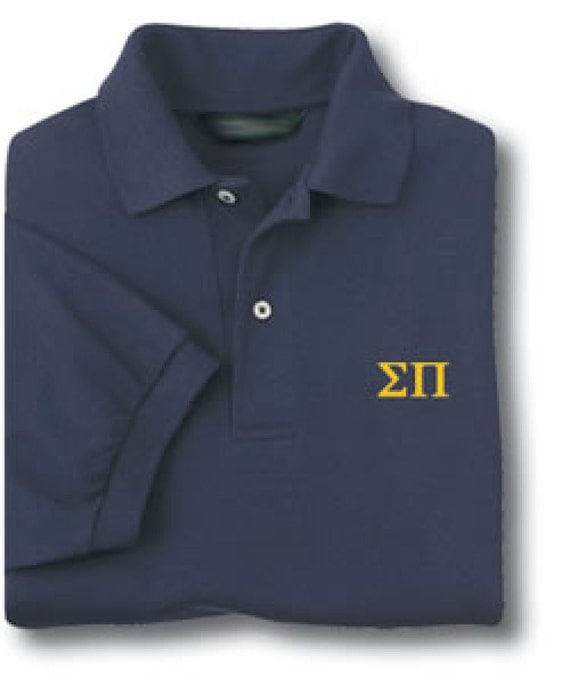 Custom short sleeve polo shirt with your embroidered greek for Personalised embroidered polo shirts