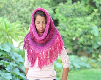 Hot Pink Knitted Cowl, Knitted Hooded Cowl, Winter Knits for Girls