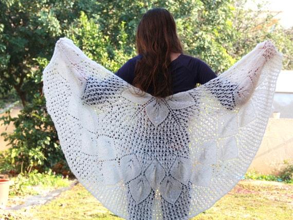 Ivory-Off white  wraps shawl, knit white shawl Wedding wraps shawl , Evening Off White shawl, Off white lace shawl,