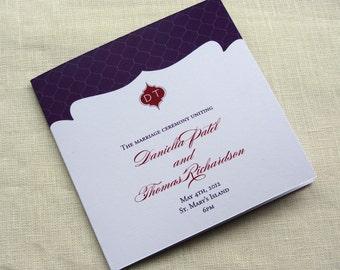 Indian Elegant Wedding Program - Monogram Lattice Ceremony Program - Square