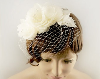 Pure Silk Bridal Veil with Flower, Flower Birdcage Veil, Blusher Veil, Summer Spring Wedding Fascinator, Wedding Veil, Flower Headpiece