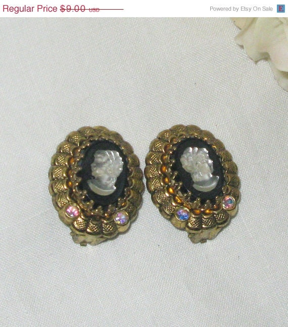25% OFF SALE Vintage cameo clip on earrings black with MOP on ornate gold background with Ab rhinestones