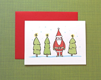 Christmas Cards, Holiday Cards, Santa Claus and Christmas Trees, 25-Count
