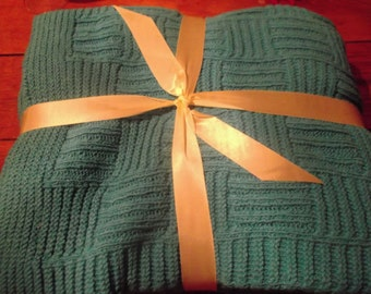 sale-PURE COTTON BLANKET, knitted, turquoise, 200 x 140 cm, available in cru,home decor, beach cottage