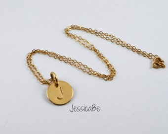 Dainty Gold Initial Hand Stamped Necklace