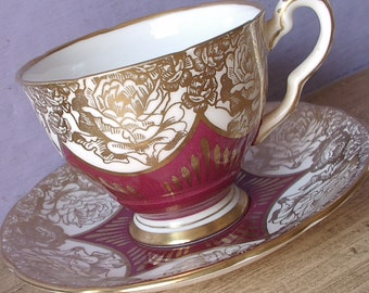 Vintage Valentine's Day gift for wife, Royal Stafford Gold roses tea cup, Burgundy red tea cup, English tea cup, Bone china teacup
