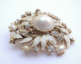 Antique wedding brooch, 1930's Monet jewelry, antique jewelry, faux pearl brooch, antique brooch, wedding jewelry