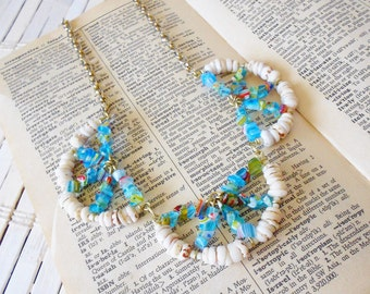 Glass Beaded Statement Necklace Beachcomber Seashells & Scallops Millefiore beads Blue White Gold BoHo Casual