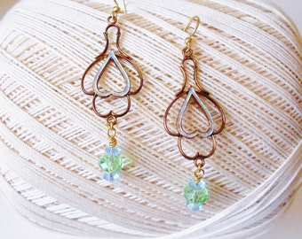 Light Mint Green Crystal Beaded Earrings Art Nouveau Style Dangles Openwork Copper Metal Filigree Lightweight Pierced earrings