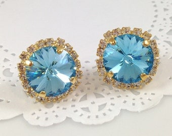 Aquamarine Stud Earrings - Gold Vintage Inspired Clear White Rhinestone Swarovski Crystal Pale Blue Wedding Bridal Bridesmaids Gift Earrings