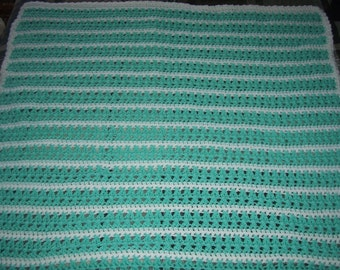 Green and White Striped Baby Blanket