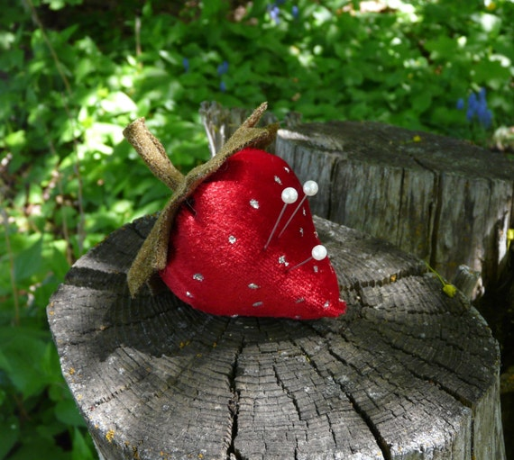 Red Strawberry Velvet Pincushion - wool pin keep cushion primitive glitter sewing supply needle pins
